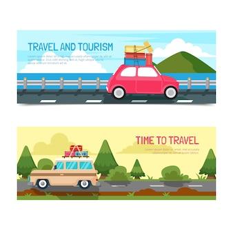 Raccolta di banner di viaggio con destinazione