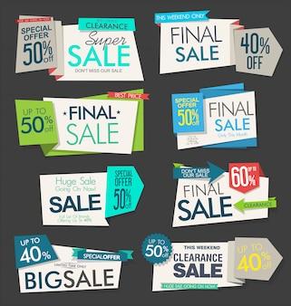 Raccolta di banner e etichette origami vendita moderna