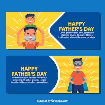 Raccolta di banner festa del papà con superdad e famiglia