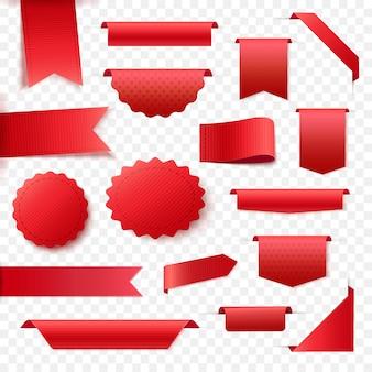 Raccolta di banner in bianco nastro rosso. tag ed etichette per qualsiasi design di promozione.