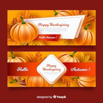 Raccolta di banner realistici del giorno del ringraziamento