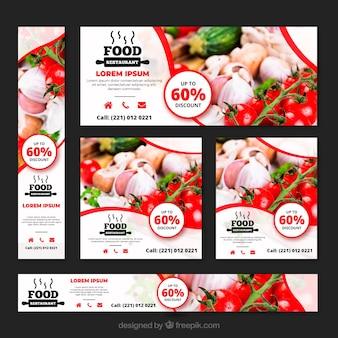 Raccolta di banner ristorante cibo sano con foto