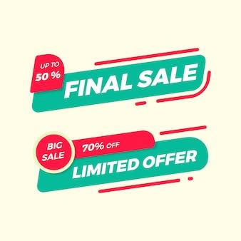 Raccolta di banner semplice vendita piatta per pubblicità e promozione
