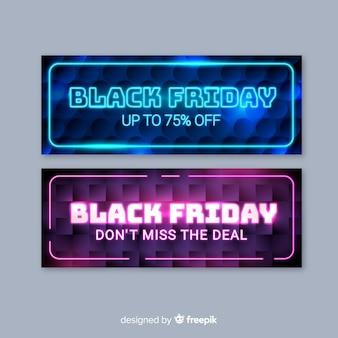 Raccolta di banner venerdì nero al neon