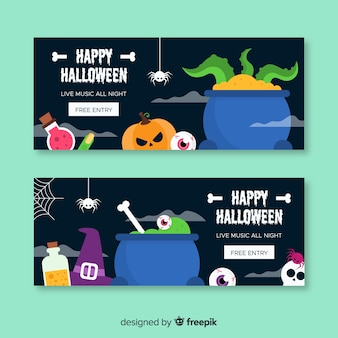 Raccolta di banner web di halloween con design piatto