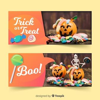 Raccolta di banner web di halloween con un design realistico