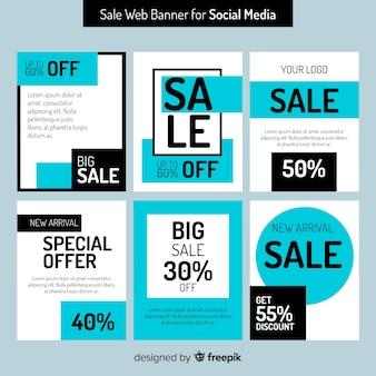 Raccolta di banner web di vendita per social media