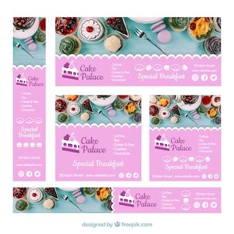 Raccolta di banner web ristorante con foto