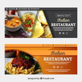 Raccolta di banner web ristorante italiano con foto