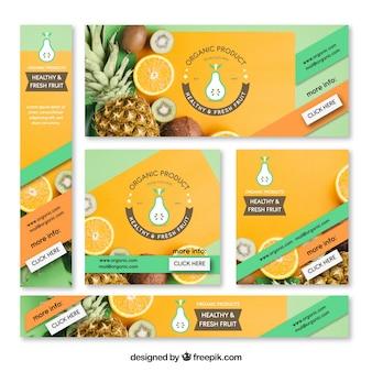 Raccolta di banner web ristorante vegeteriano con foto
