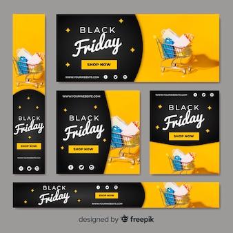 Raccolta di banner web vendita nero venerdì con carrello
