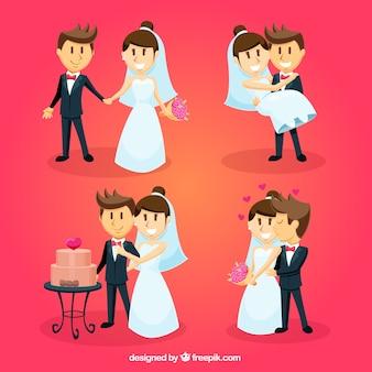 Raccolta di belle sposi sorridenti