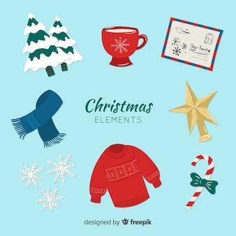 Raccolta di bellissimi elementi natalizi
