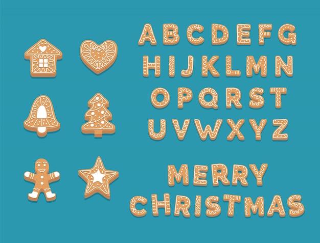 Raccolta di biscotti di panpepato, alfabeto di natale carino e biscotti