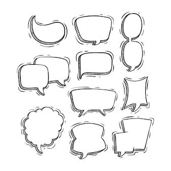 Raccolta di bolle di discorso carino con stile doodle