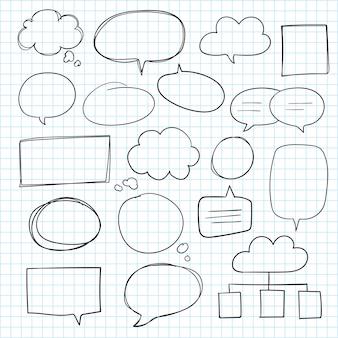 Raccolta di bolle di discorso disegnato a mano