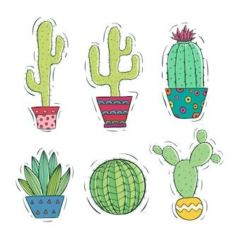 Raccolta di cactus colorato con pot con stile doodle