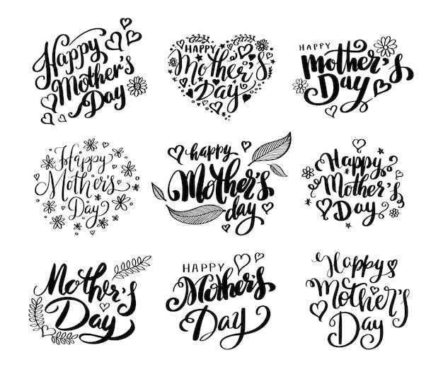 Raccolta di calligrafia di felice festa della mamma.