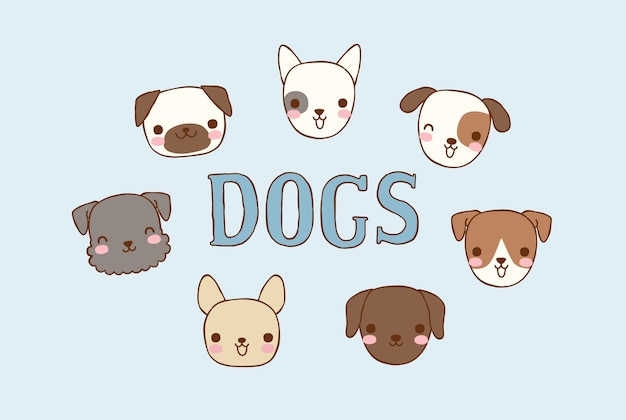 Raccolta di cani carino testa in stile piatto