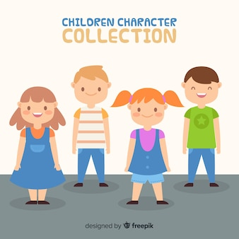 Raccolta di caratteri di bambini carini in design piatto