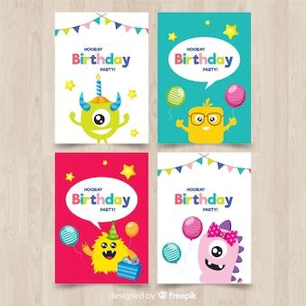 Raccolta di carta di compleanno piatta