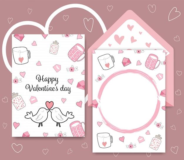 Raccolta di carta di san valentino colorato di bianco rosa.