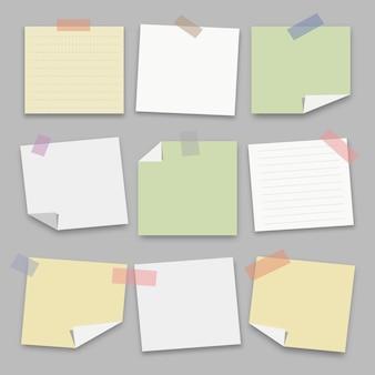 Raccolta di carta nota. illustrazione di vettore.