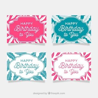 Raccolta di carte di buon compleanno in stile piano