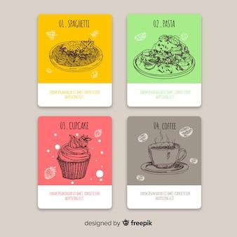 Raccolta di carte di cibo disegnato a mano
