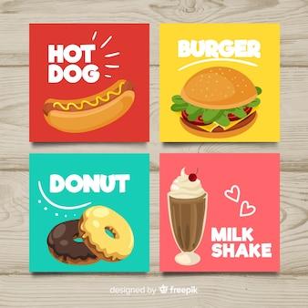 Raccolta di carte di cibo piatto