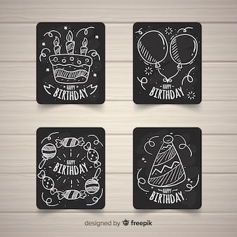 Raccolta di carte di compleanno di lavagna
