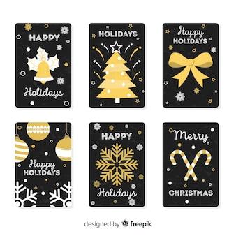 Raccolta di carte di elementi dorati di natale