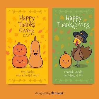 Raccolta di carte di giorno del ringraziamento disegnato a mano