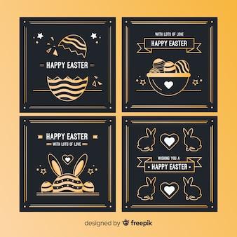 Raccolta di carte di giorno di pasqua nero e oro