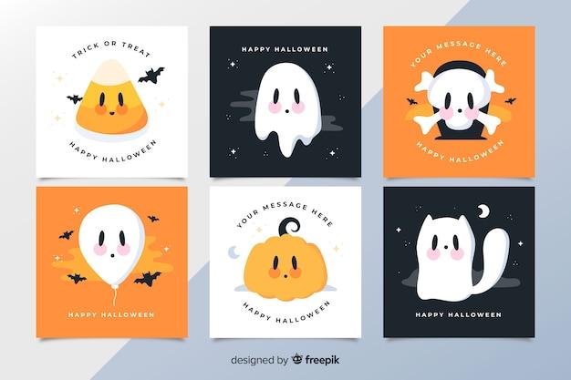Raccolta di carte di halloween delle creature spettrali del fumetto animato