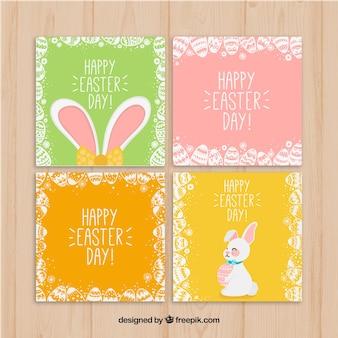 Raccolta di carte di pasqua cornice di uova