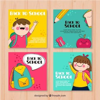 Raccolta di carte di ritorno a scuola