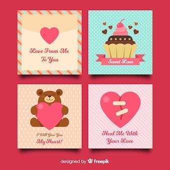 Raccolta di carte di san valentino piatto