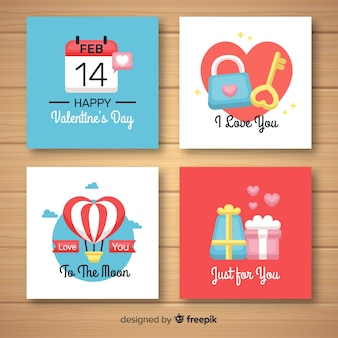Raccolta di carte elementi di san valentino