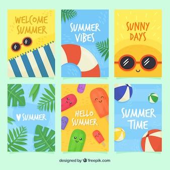 Raccolta di carte estive con cartoni animati carini