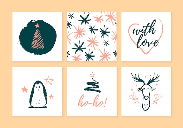 Raccolta di cartoline di natale, etichette regalo e distintivi isolati su sfondo chiaro. emblemi per le vacanze di natale presenta confezionamento in stile schizzo disegnato a mano. pinguino, cervo, abete, modello.
