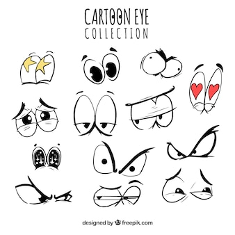 Raccolta di cartoon occhi con le espressioni divertenti