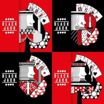 Raccolta di chip di gioco d'azzardo del casinò del poker del black jack