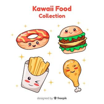 Raccolta di cibo adorabile disegnato a mano