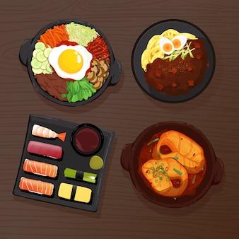 Raccolta di cibo asiatico piatto