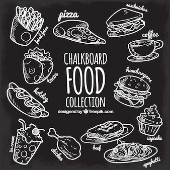 Raccolta di cibo in stile lavagna