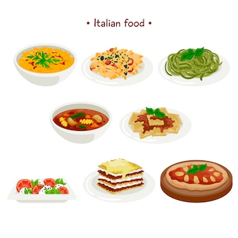 Raccolta di cibo italiano