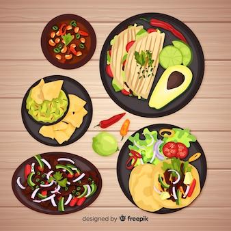 Raccolta di cibo messicano realistico