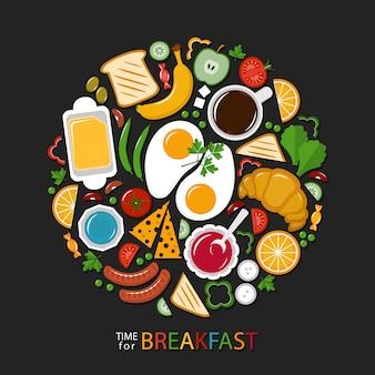 Raccolta di cibo per la colazione sul buio