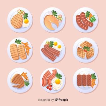Raccolta di cibo piatto